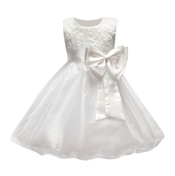 Нарядное детское белое платье для девочки 100,130,160