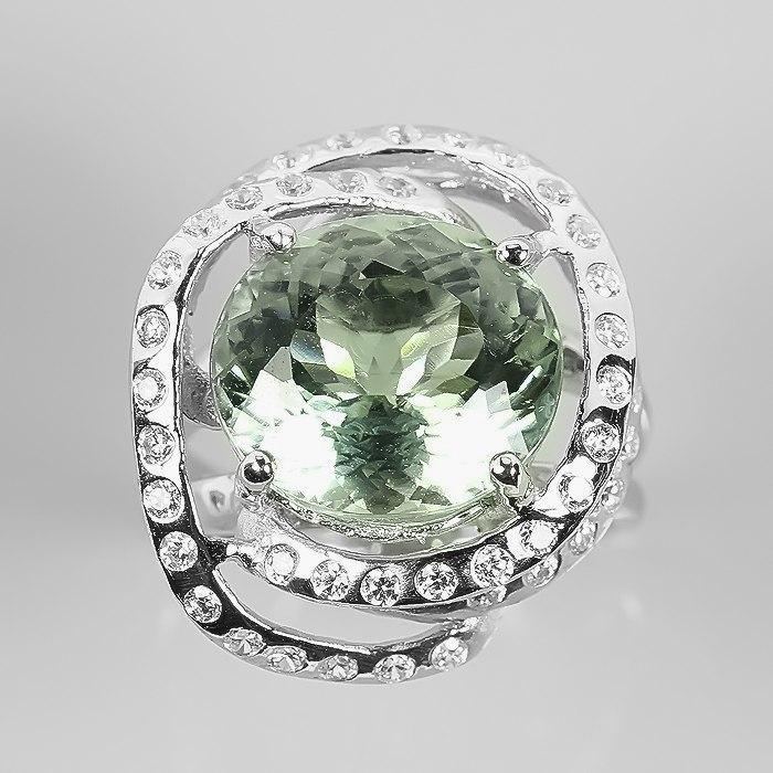 Кольцо с натуральным Празиолитом (Зеленым Аметистом) и фианитами