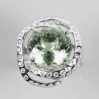 Кольцо с натуральным Празиолитом (Зеленым Аметистом) и фианитами, фото 1