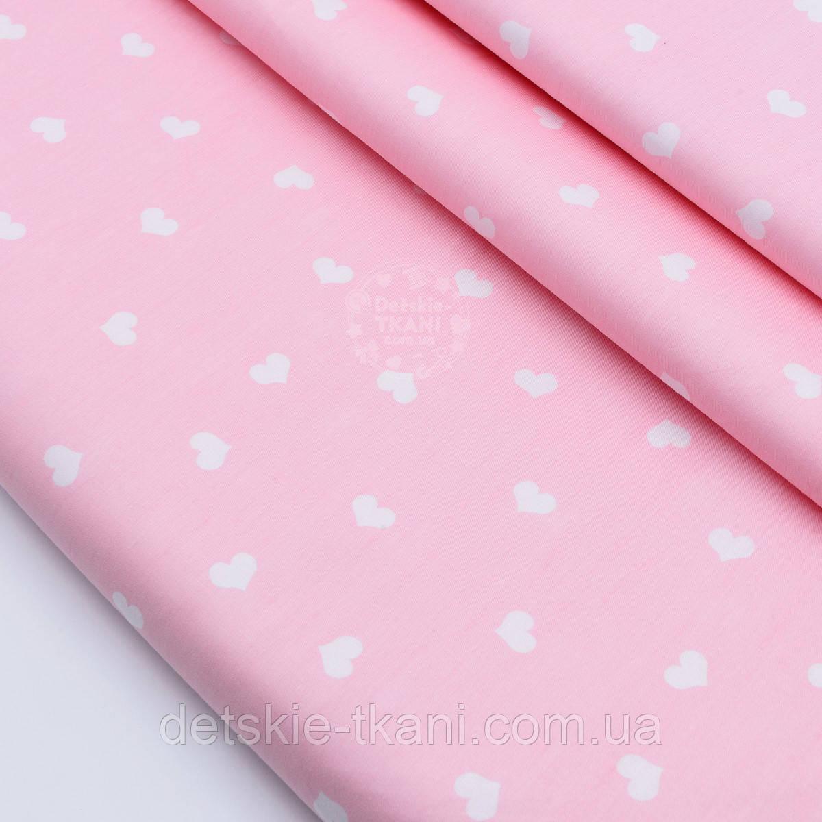 """Сатин  """"Фигурные сердечки 14 мм"""" на розовом № 1759с"""