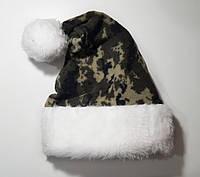 Новогодняя Шапка Взрослая Деда Мороза Колпак Санта Клауса Santa Claus Милитари, фото 1