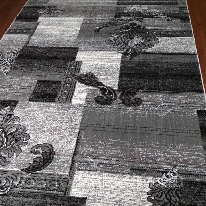 Ковёр Daffi серый квадраты растения 2х3.м.