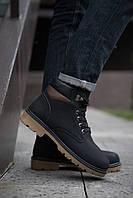 Ботинки мужские теплые на меху высокие  молодежные качественные (черные), ТОП-реплика
