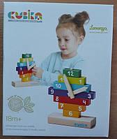 Дерев'яна розвиваюча іграшка для дітей годинник CUBIKA конструктор, фото 1