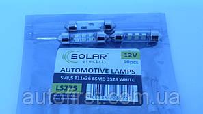 SOLAR Автолампа LED 12V SV8.5 T11x36mm 6led 3528 white (1 шт)