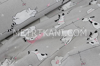 """Фланель детская """"Коты с собаками на верёвке"""" на сером фоне №1296"""