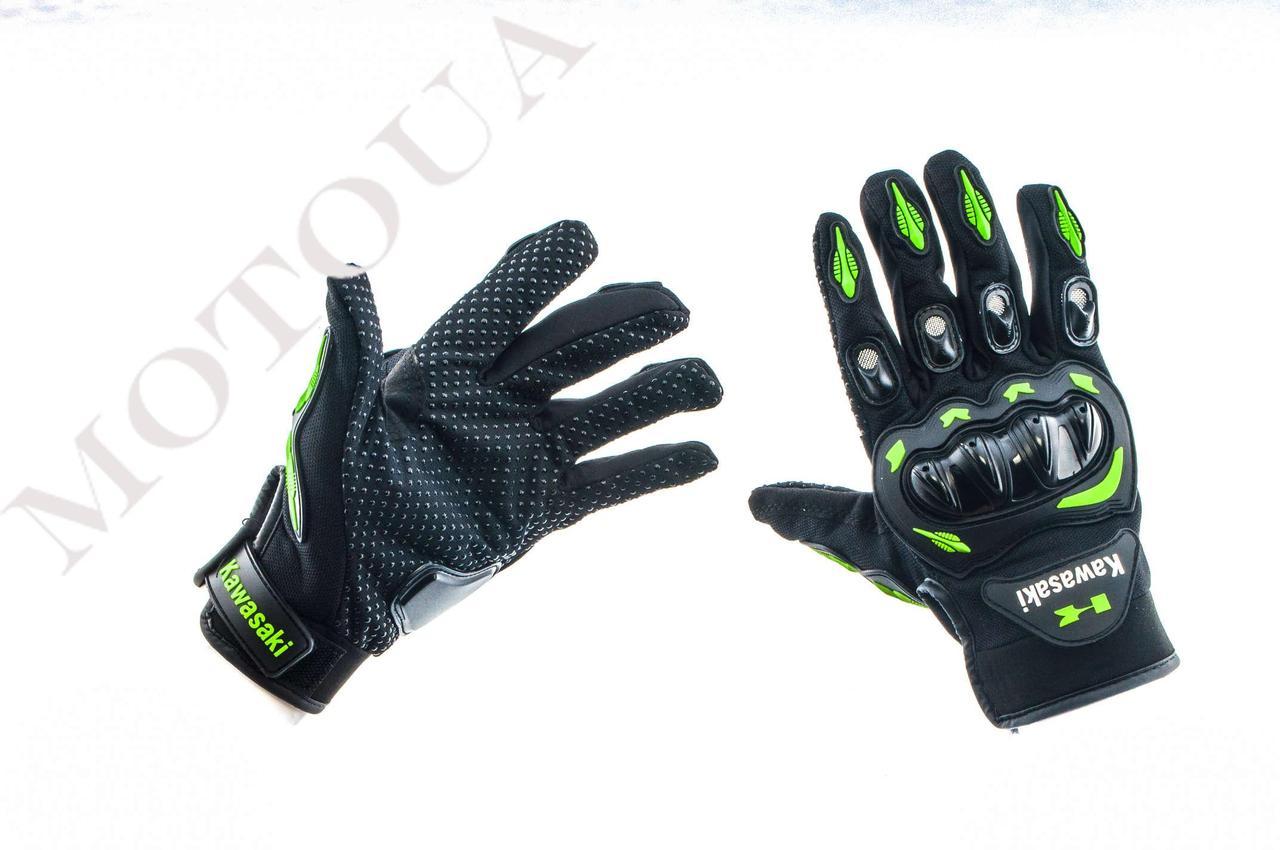 Рукавиці (Перчатки) KAWASAKI (size: M, чорно-зелені)