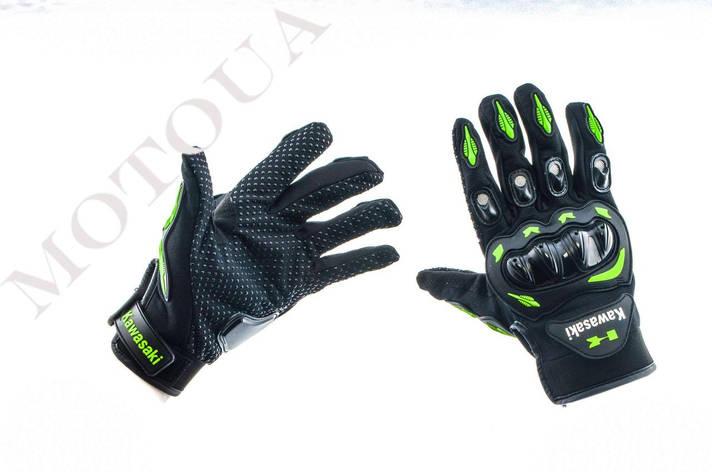 Рукавиці (Перчатки) KAWASAKI (size: M, чорно-зелені), фото 2