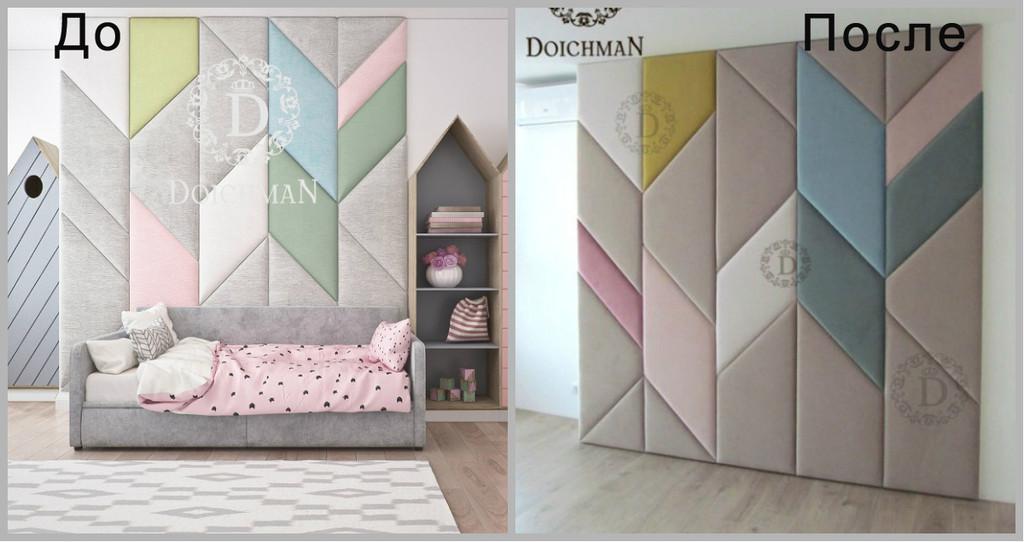 Мягкие стеновые панели в детскую комнату по визуализации дизайнера.