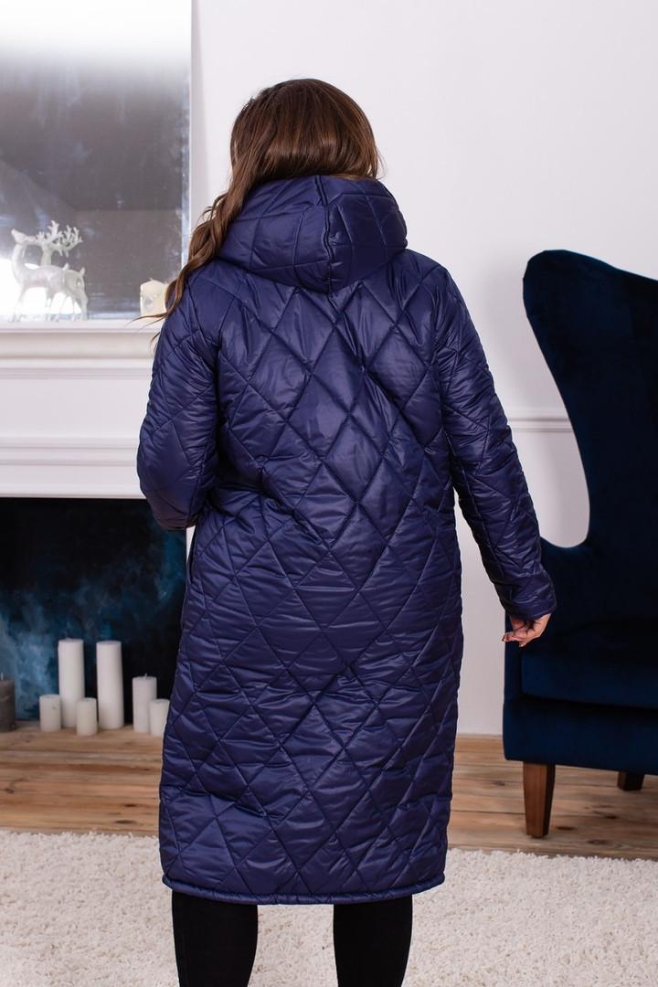 ea20f3f115f Женское зимнее пальто на синтепоне больших размеров синее  продажа ...