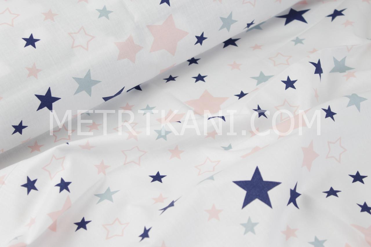 """Ткань """"Звездопад"""" синие и розовые звёзды на белом фоне №852"""