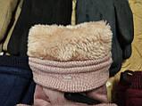 Замш з хутро рукавички на манжеті ANJELA стильні тільки оптом, фото 3