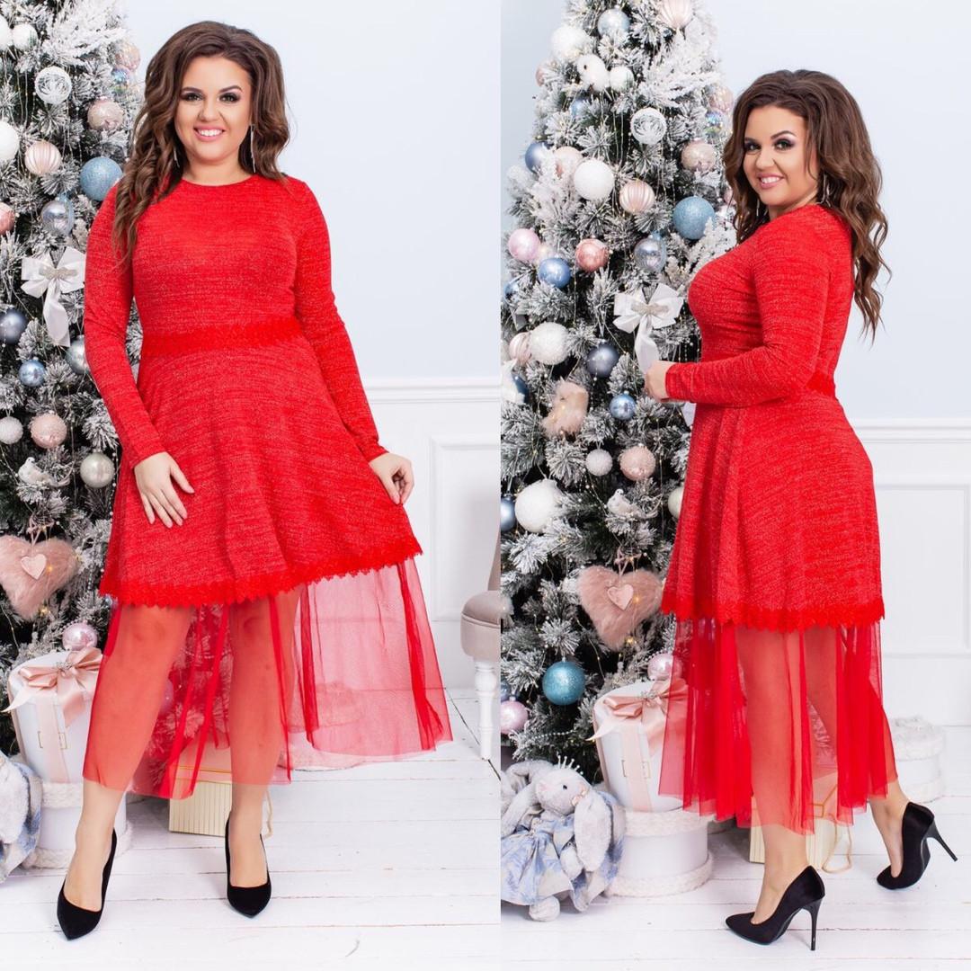 38c941fe3ae Красивое оригинальное женское платье большого размера с сеткой красное