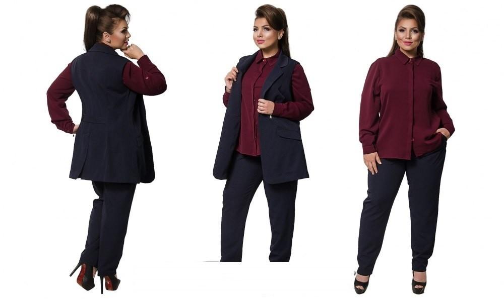 """Изумительный женский костюм тройка ткань """"Костюмная+креп-шифон"""" 54 размер батал"""