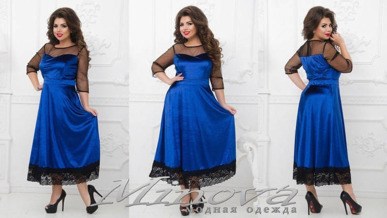 "Сказочное женское платье ткань ""Бархат"" 50, 54, 56, 58 размер батал, фото 2"