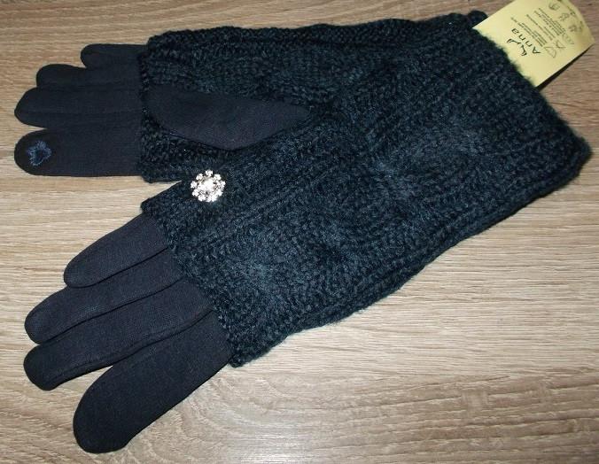 Перчатки и митенки сенсорные с украшением на плотном флисе 2 в 1 синие