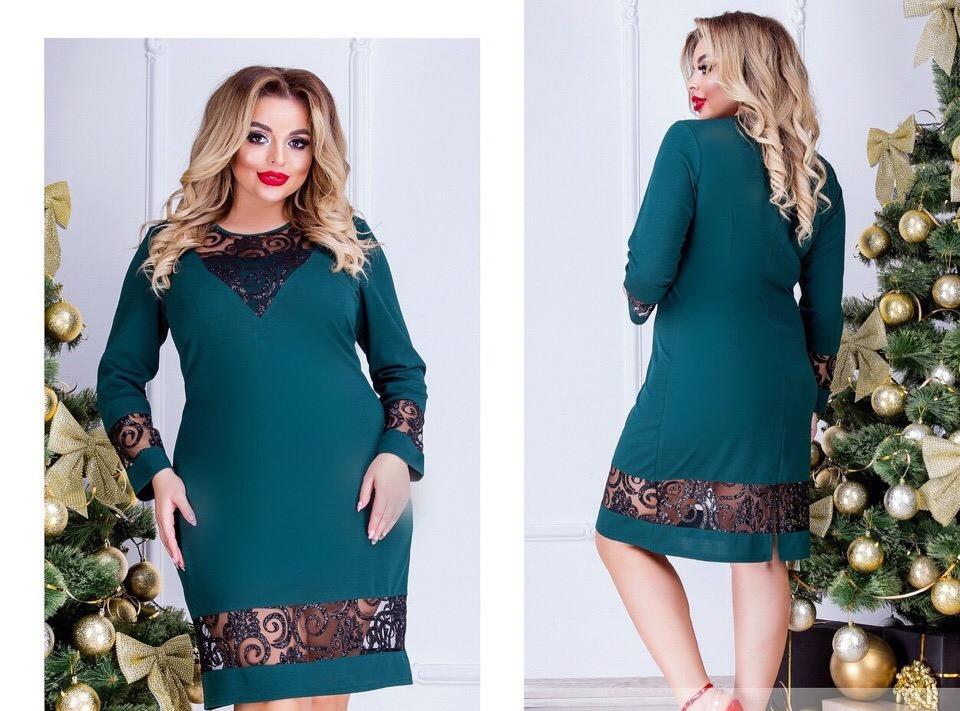 5dc60fb58a6 Шикарное оригинальное женское платье большого размера до 58-го с пайетками  на сетке зеленое