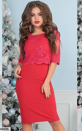 Красивое платье миди облегающее рукав три четверти сетка вышивка красное, фото 2