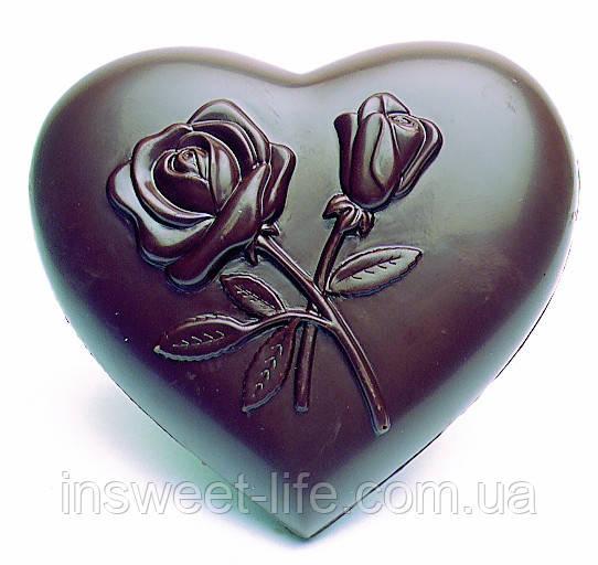 """Поликарбонатная форма """" Сердце с розой 10х10,5х1,7см """""""
