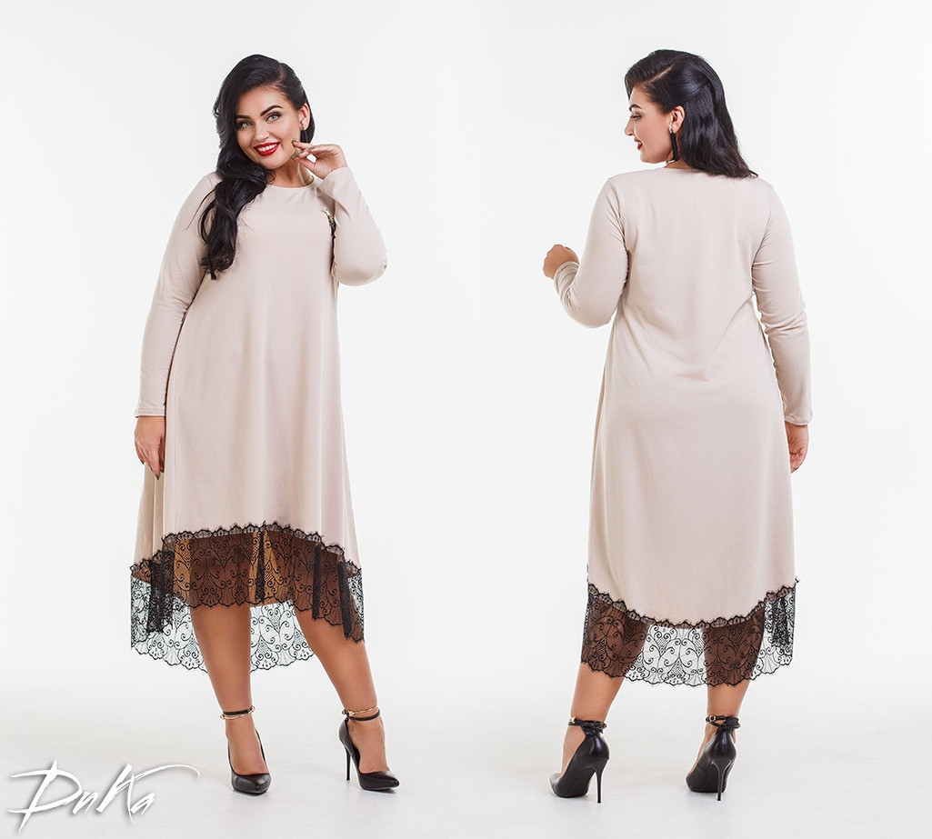 7fbcd03fa92 Теплое женское платье свободного кроя с гипюром большого размера ...