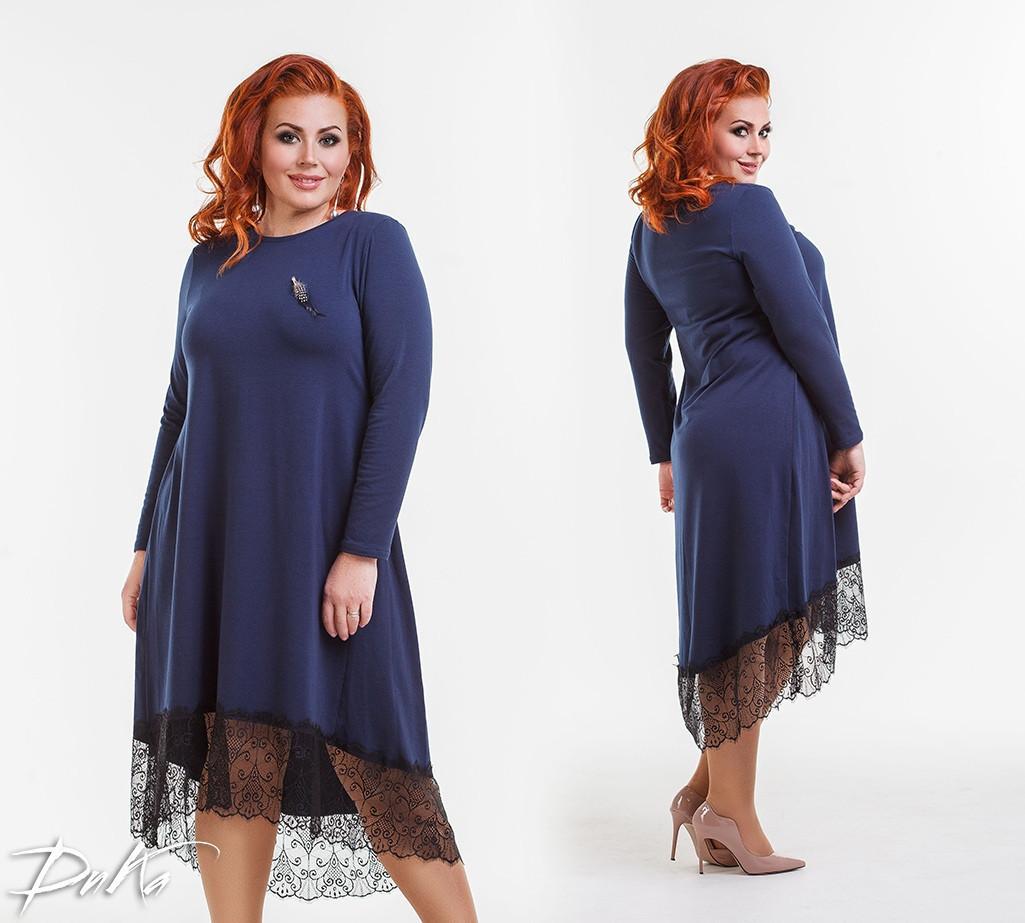 27b2e9fd376 Теплое женское платье свободного кроя с гипюром большого размера -