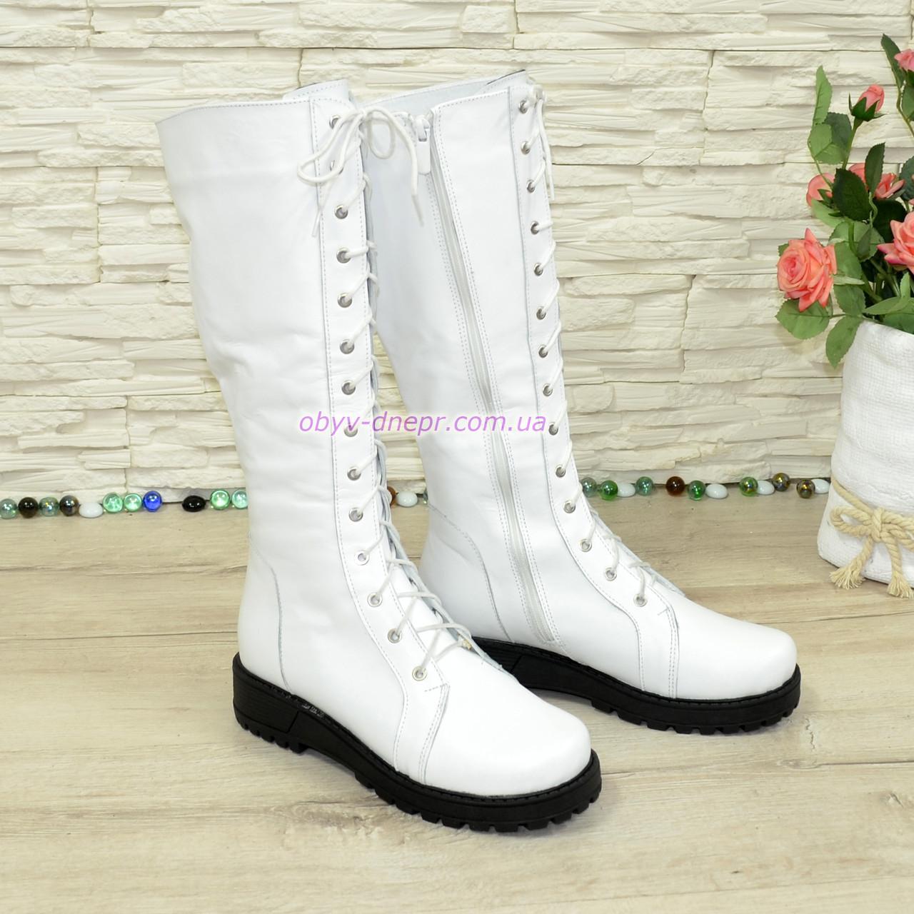 Стильні зимові чоботи на шнурівці, натуральна біла шкіра