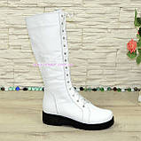 Стильні зимові чоботи на шнурівці, натуральна біла шкіра, фото 2