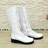 Стильні зимові чоботи на шнурівці, натуральна біла шкіра, фото 3