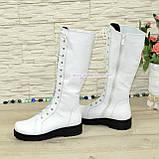 Стильні зимові чоботи на шнурівці, натуральна біла шкіра, фото 4