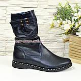 Ботинки женские демисезонные на маленьком каблуке, из натуральной кожи флотар, фото 2
