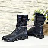 Ботинки женские демисезонные на маленьком каблуке, из натуральной кожи флотар, фото 4