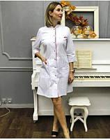 Медичний халат жіночий Пекін білий/червоний, фото 1