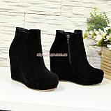 Чоботи замшеві чоботи на високій платформі, фото 4
