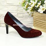 Туфли женские классические замшевые на шпильке! Цвет бордо, фото 2