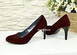 Туфли женские классические замшевые на шпильке! Цвет бордо, фото 4