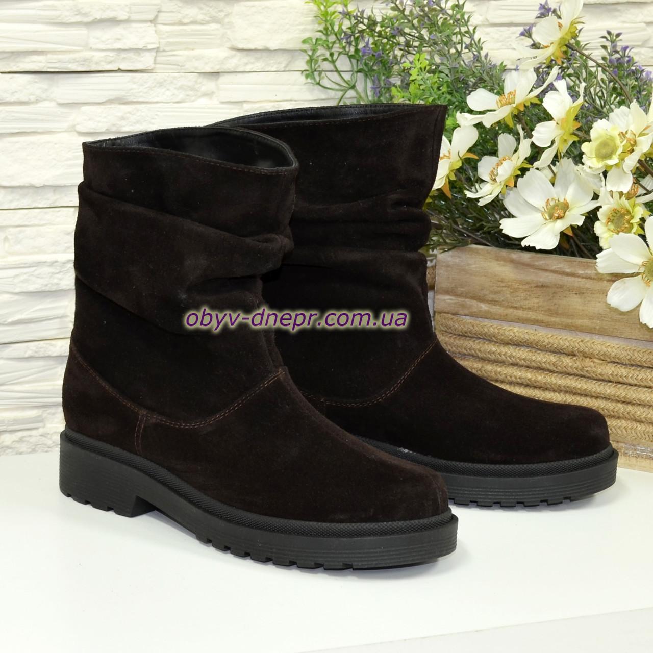 b618041e Ботинки женские зимние на низком ходу, из натуральной замши коричневого  цвета
