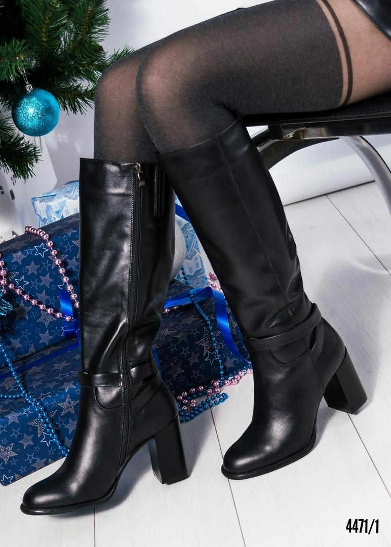 Сапоги женские черные кожаные