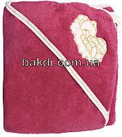 Детское полотенце-уголок после купания 80х90 махровое с капюшоном малиновый хлопок 100% для новорожденного малыша девочке Ю-750