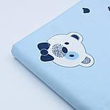 """Сатин """"Голова мишки с синей бабочкой и полосатые контуры"""" на голубом № 1764с, фото 2"""