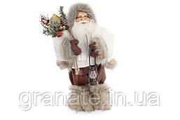 """Новогодняя кукла """"Санта Клаус с фонариком"""" 30см, цвет: серый"""