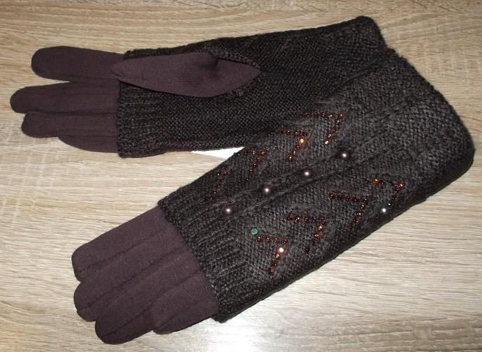 Перчатки и митенки на очень плотном флисе 2 в 1 шоколад  размер 8.5