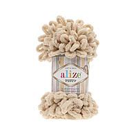 Пряжа Alize Puffy 310 медовый (Пуффи Ализе) для вязания без спиц руками