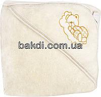 Детское полотенце-уголок после купания 80х90 махровое с капюшоном молочный хлопок 100% для новорожденного малыша мальчику/девочке М-750