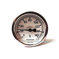 """Термометр 0-160°С, Ø63мм, з різьбою 1/2 """"біметалічний, осьовий, PAKKENS"""