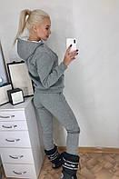 Женский однотонный спортивный костюм на флисе с капюшоном на меху, фото 1