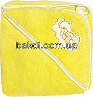 Детское полотенце-уголок после купания 80х90 махровое с капюшоном жёлтый хлопок 100% для новорожденного малыша мальчику/девочке Ж-750