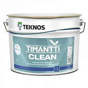 Полуматовая антимикробная краска для внутренних работ Teknos 9 л белая Timantti Clean