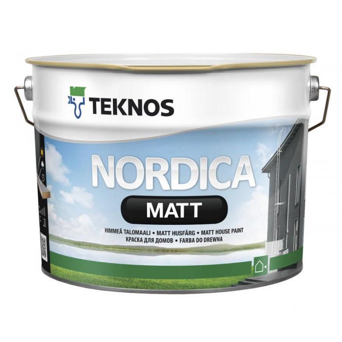 Глубокоматовая краска для наружных деревянных поверхностей Teknos Nordica Matt 9 л