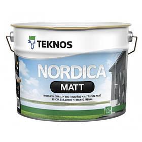 Глубокоматовая краска для наружных деревянных поверхностей Teknos Nordica Matt белая 9 л