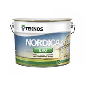 Глянцевая краска для наружных деревянных поверхностей Teknos Nordica Eco белая 9 л